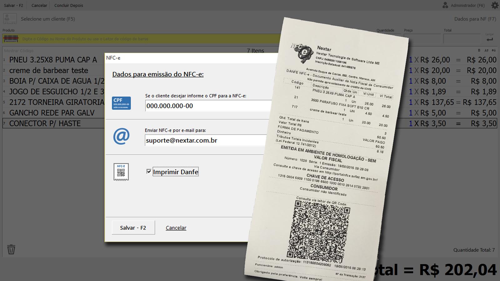 Clique para ver o modelo de DANFE NFC-e do Programa NEX