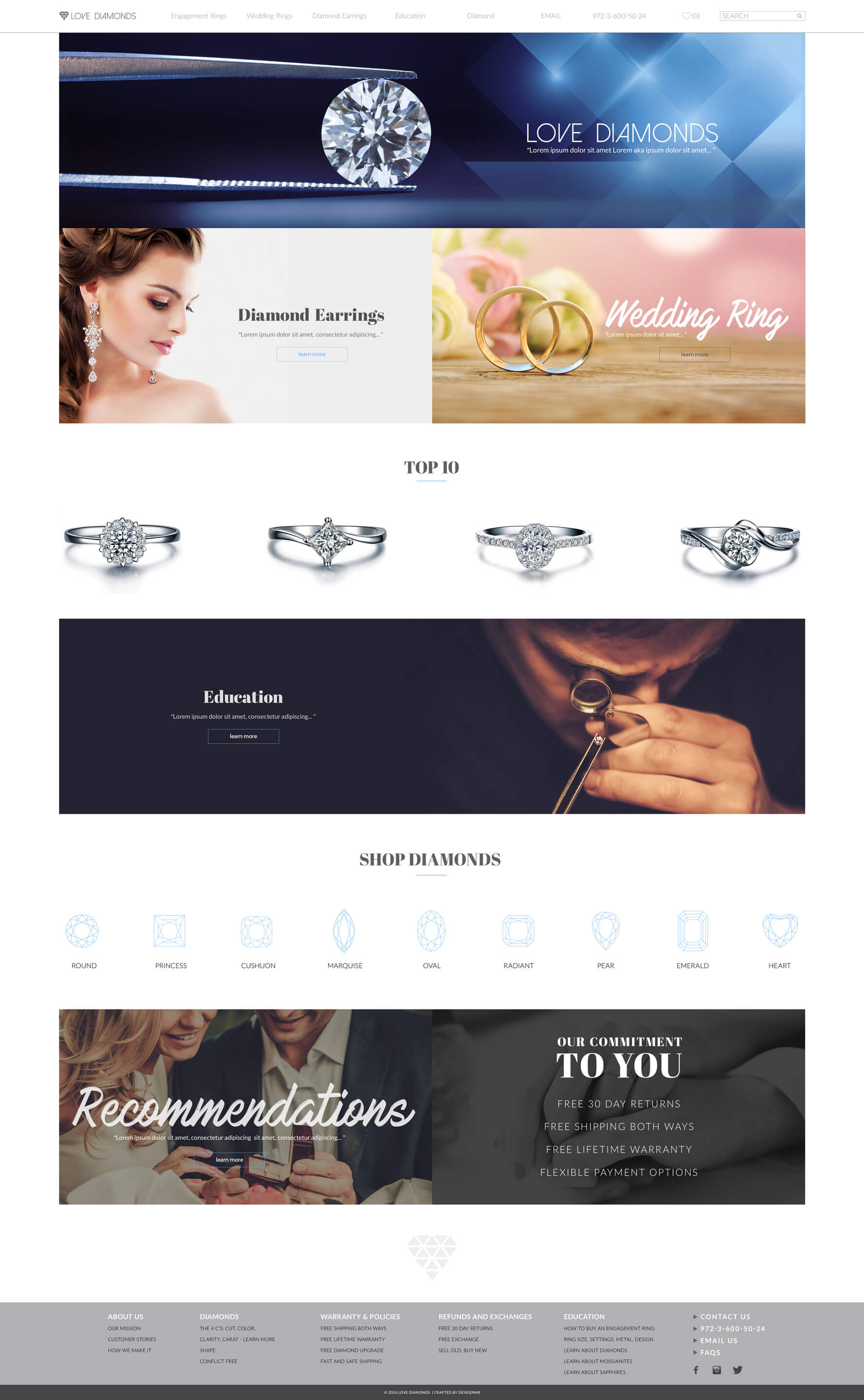 Love Diamonds Website Design