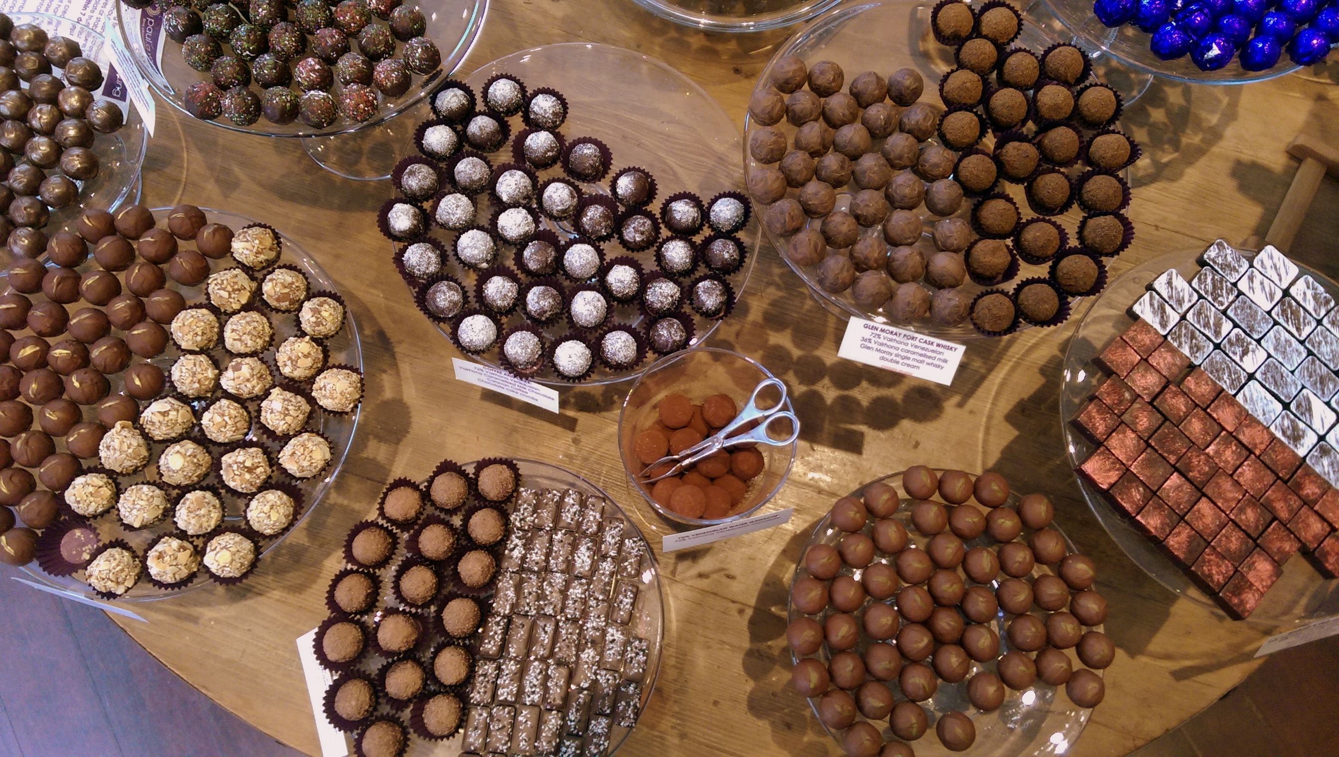 A table full of chocolates