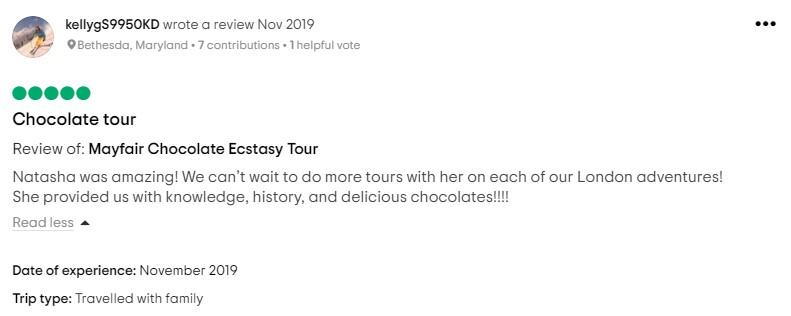 5 Star Chocolate Ecstasy Tour review of Evening Chocolate Tour