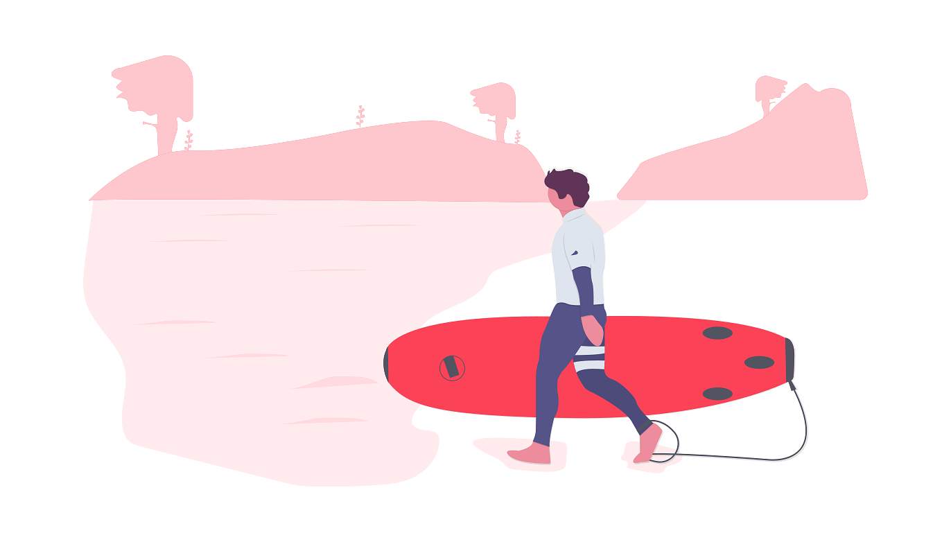 illustration of person holding surfboard