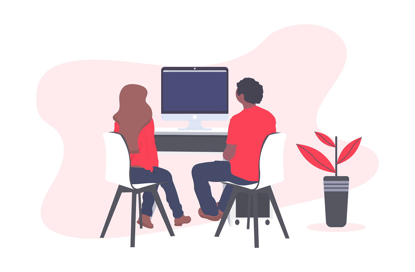 illustration of two people sitting at computer