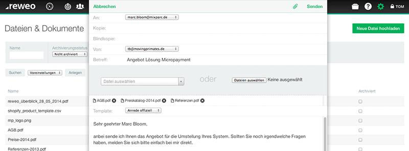 CRM Email Dateien anhängen