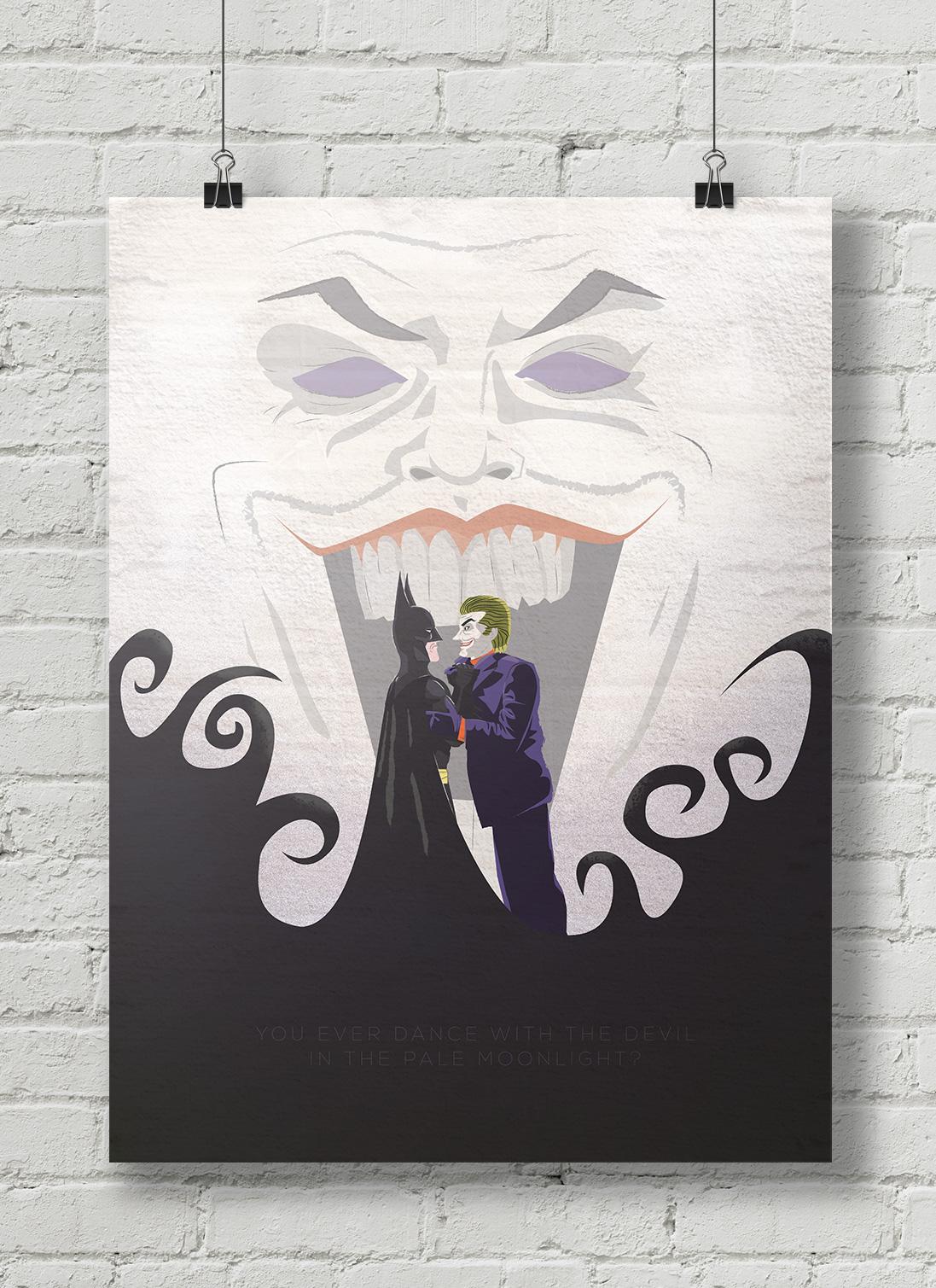 Batman vs Joker poster illustration