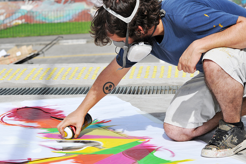Sao Paulo was taken by a graffiti exhibition with more than 90 paintings in Roosevelt Square.