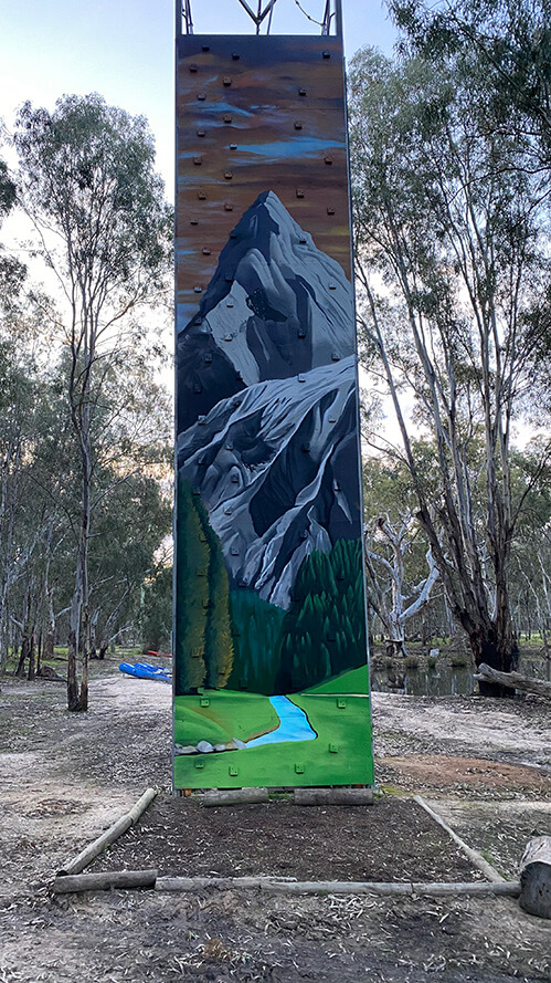 Climbing wall painted with art, at Murray Life Adventures in Echuca
