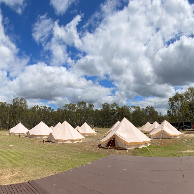 Tents at the Murray Life Adventures camp ground in Echuca