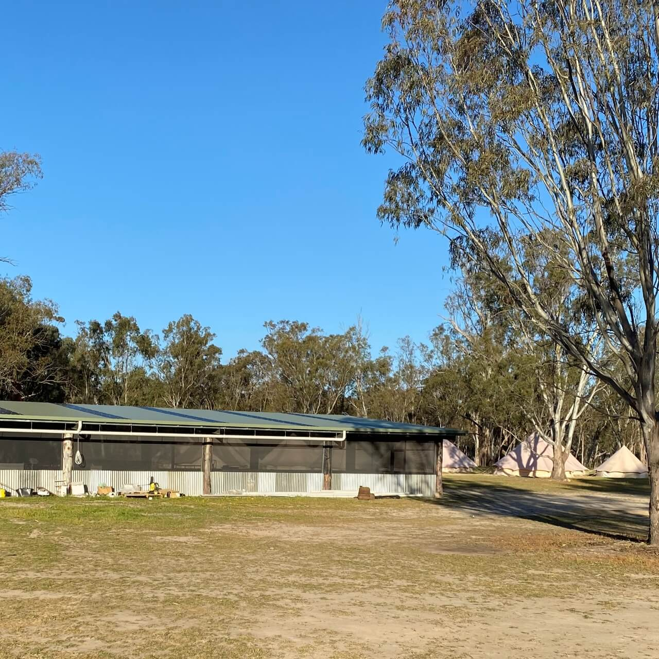 Kitchen facilities at the Murray Life Adventures camping ground in Echuca