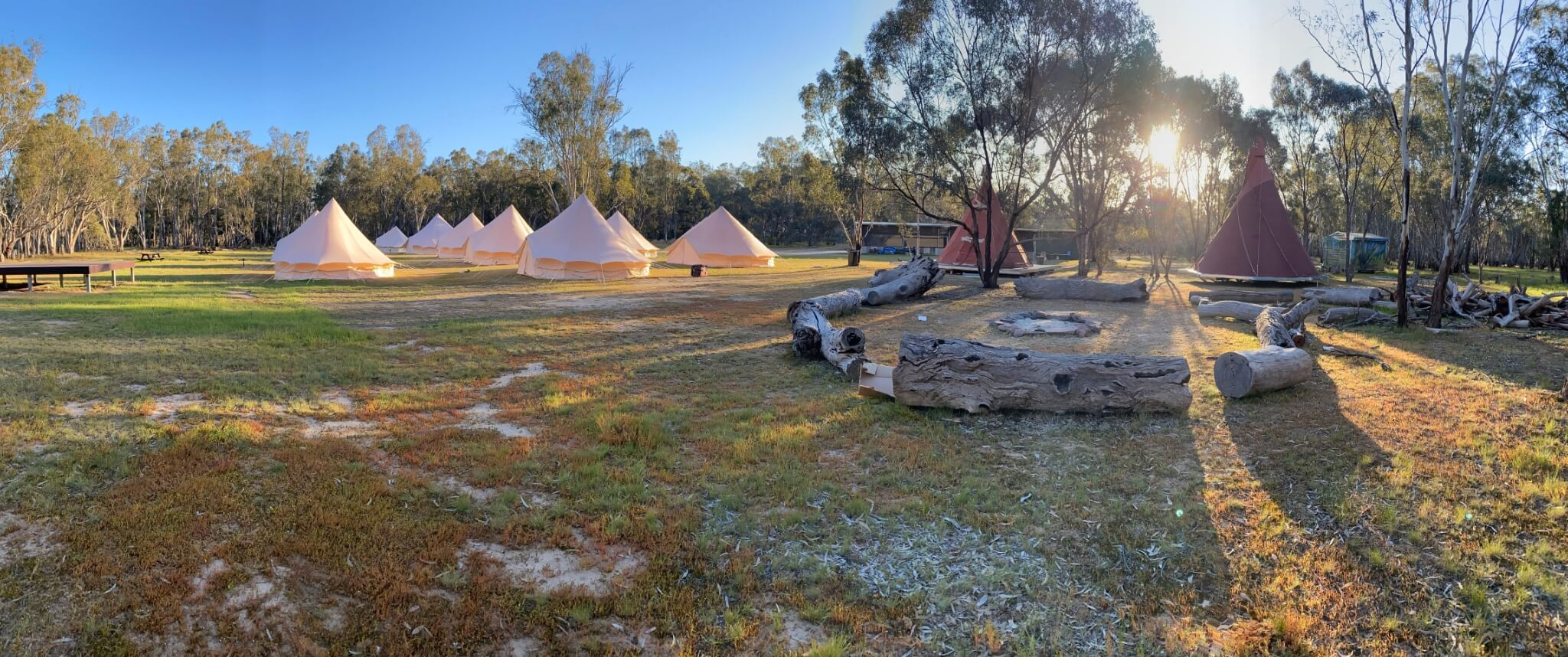 Camping grounds at Murray Life Adventures, Echuca, Victoria