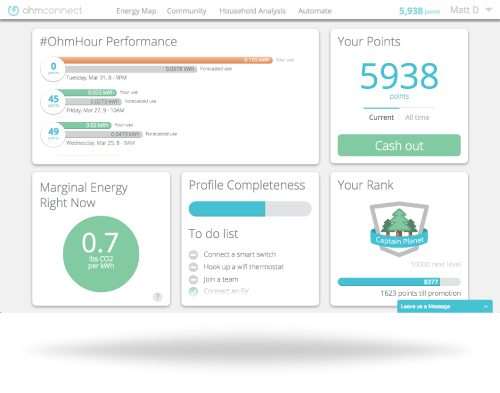 Photo of OhmConnect dashboard
