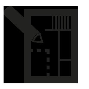 ícone de lápis e planta-baixa