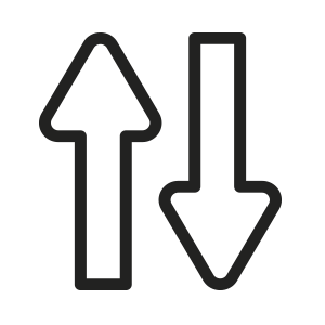 íícone de seta subindo e descendo