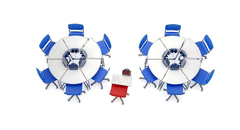12 mesas link em 2 círculos com 6 mesas