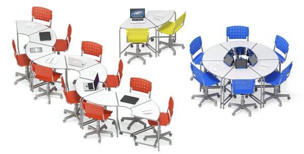 mesas link em diversos arranjos como dupla, círculo e zique-zague