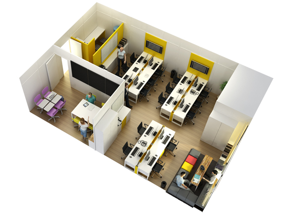 planta baixa 3d de escritório