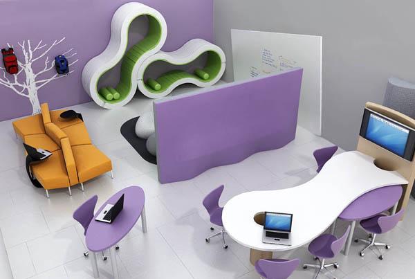 ambiente interno com mobiliário educacional moderno