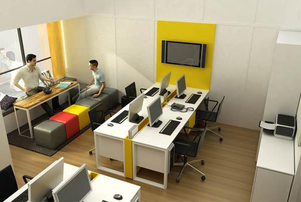escritório com estações de trabalho e área de convivência