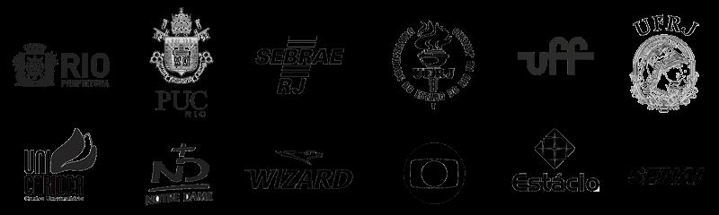 diversos logotipos como prefeitura do rio de janeiro, puc rio, sebrae, uerj, uff, hfrj