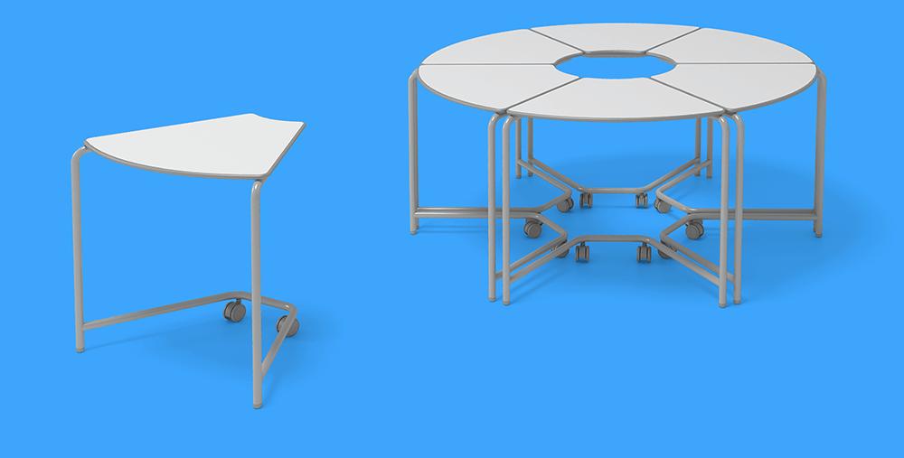 conjunto de mesas trapézio link