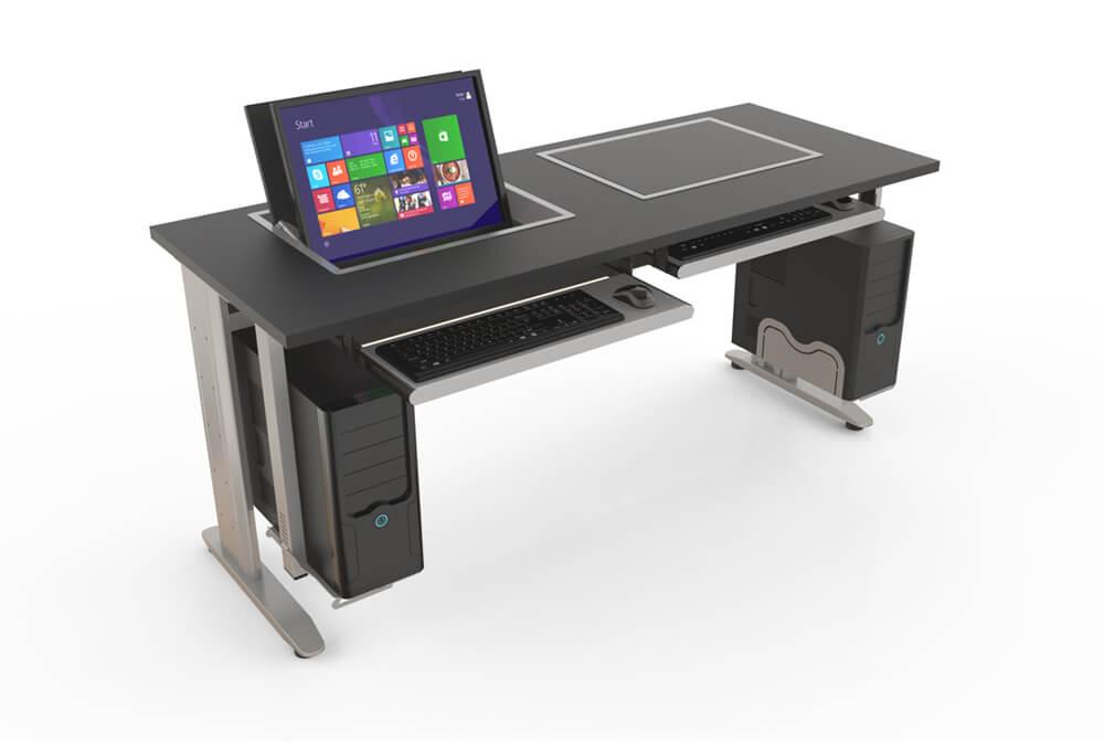 mesa com suporte para computador e tampo com monitor rebatível