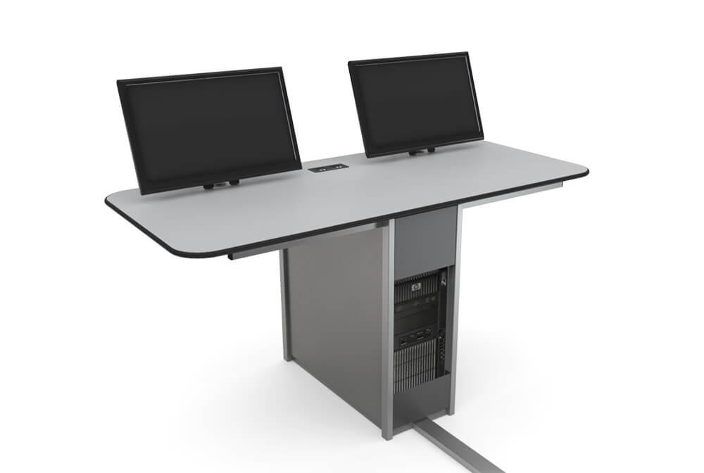 mesa com estrutura central para computador e dois monitores