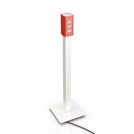 totem h6 de energia branco com caixa de tomadas em vermelho