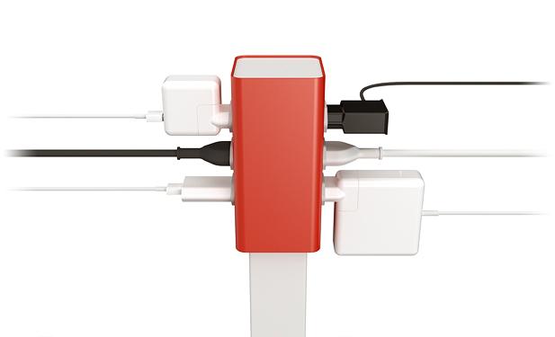 módulo de tomada do totem h6 com seis tipos diferentes de tomadas conectadas