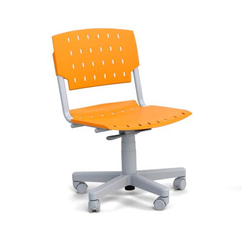 cadeira sg giratória com estrutura cinza e assento laranja