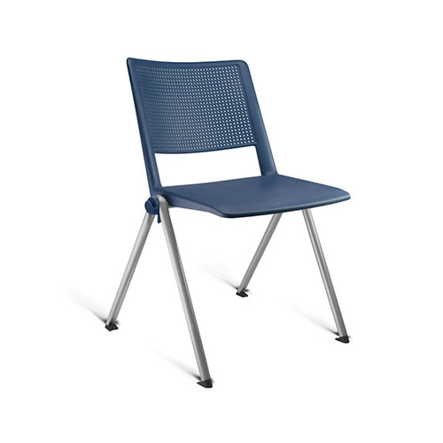 cadeira fv fixa com estrutura cinza e assento azul