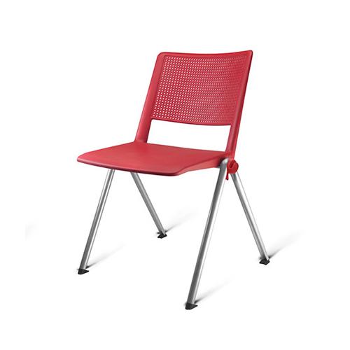 cadeira fv fixa com estrutura cinza e assento vermelho