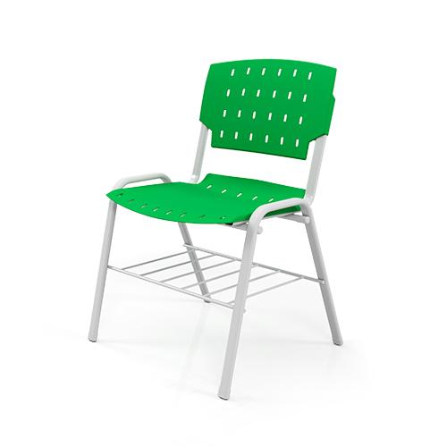cadeira sg fixa com estrutura cinza e assento verde e porta livros