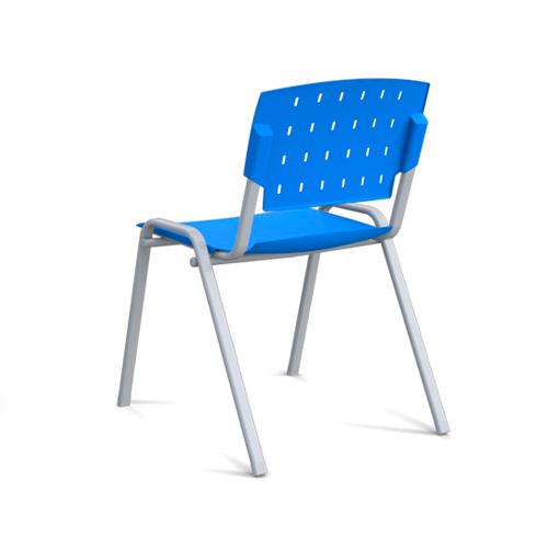 cadeira sg fixa com estrutura cinza e assento azul vista traseira