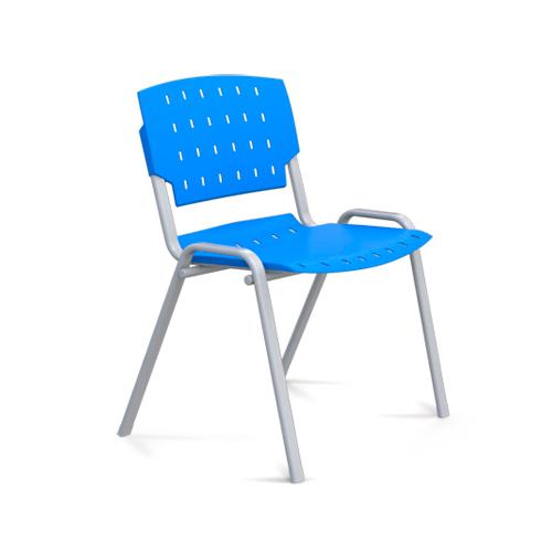 cadeira sg fixa com estrutura cinza e assento azul