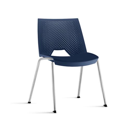 cadeira st fixa com estrutura cinza e assento azul