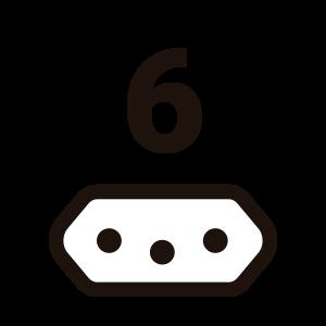 ícone de seis tomadas