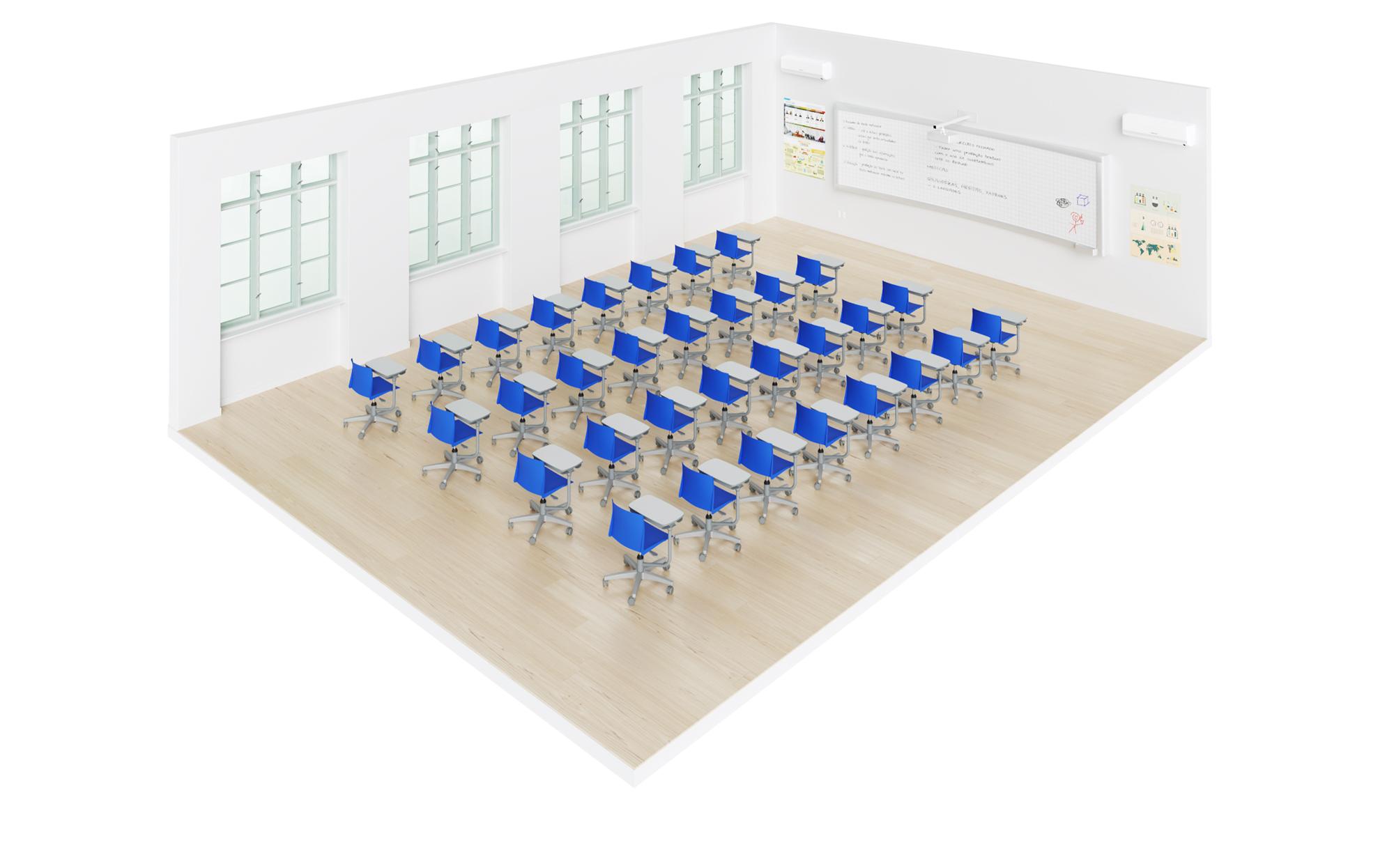 sala de aula com carteiras flex pro em arranjo tradicional