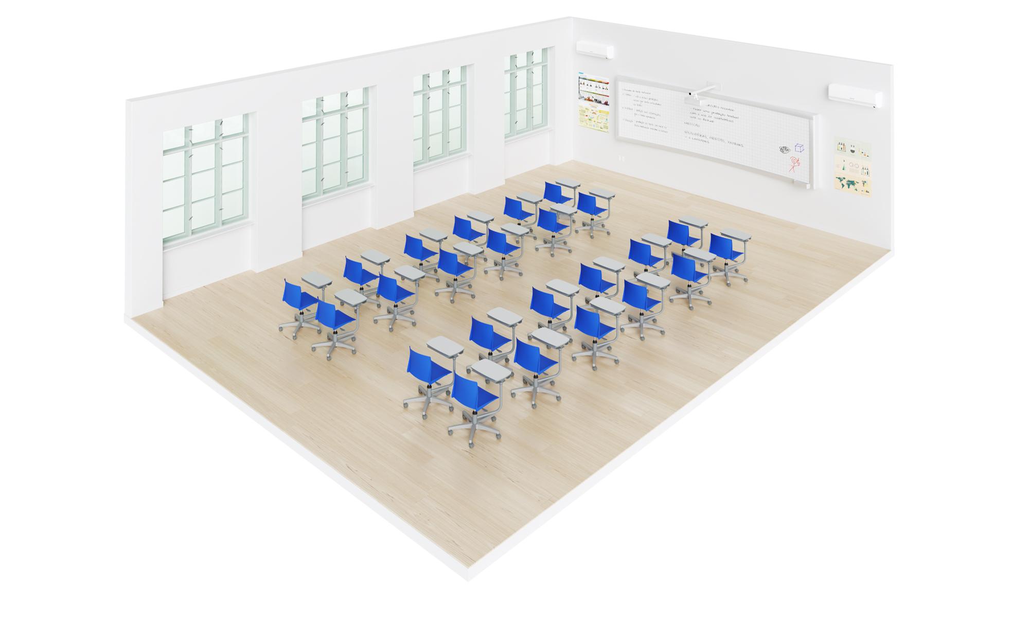 sala de aula com carteiras universitárias flex pro em duplas