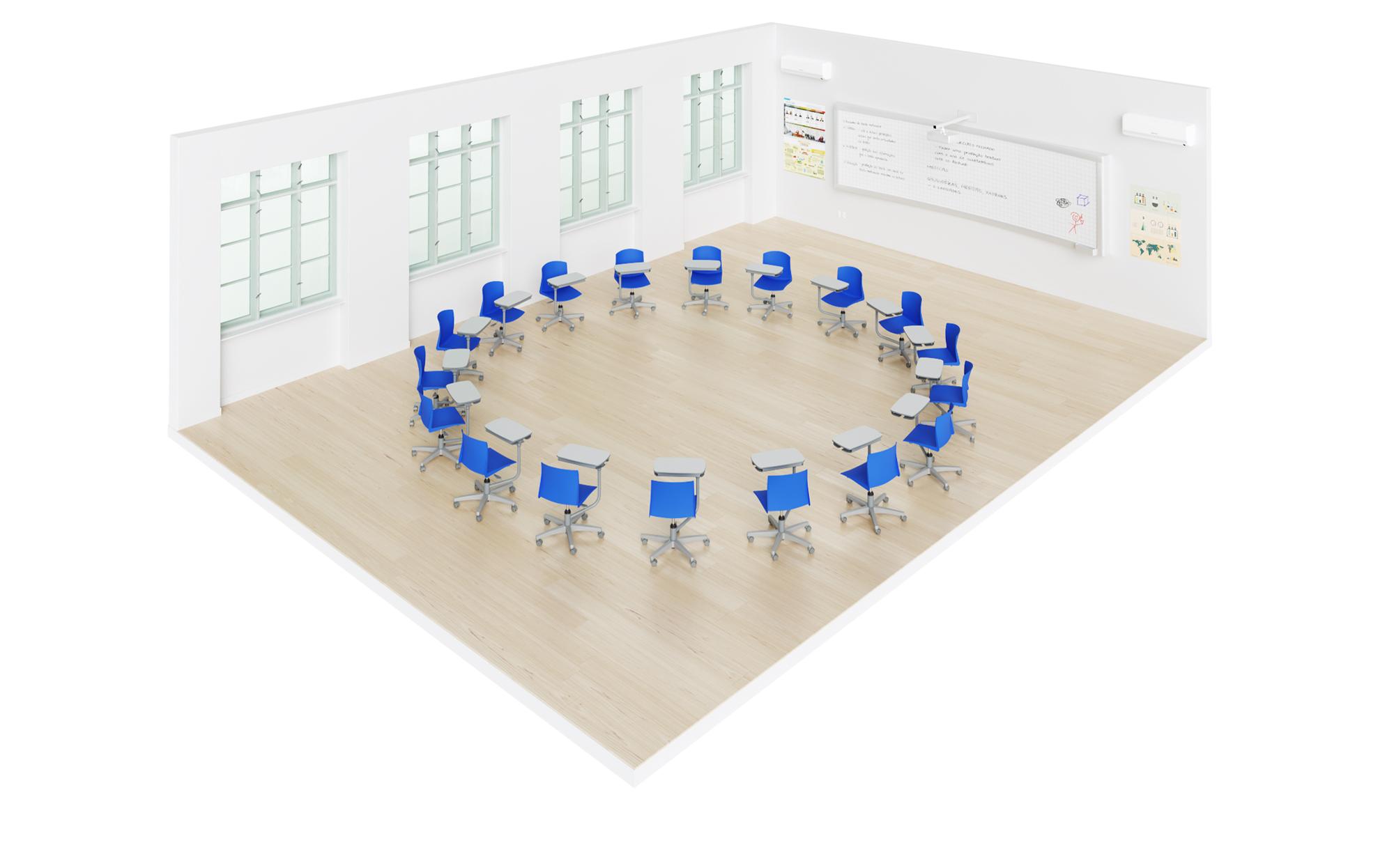 sala de aula com carteira universitária flex pro em um grande círculo