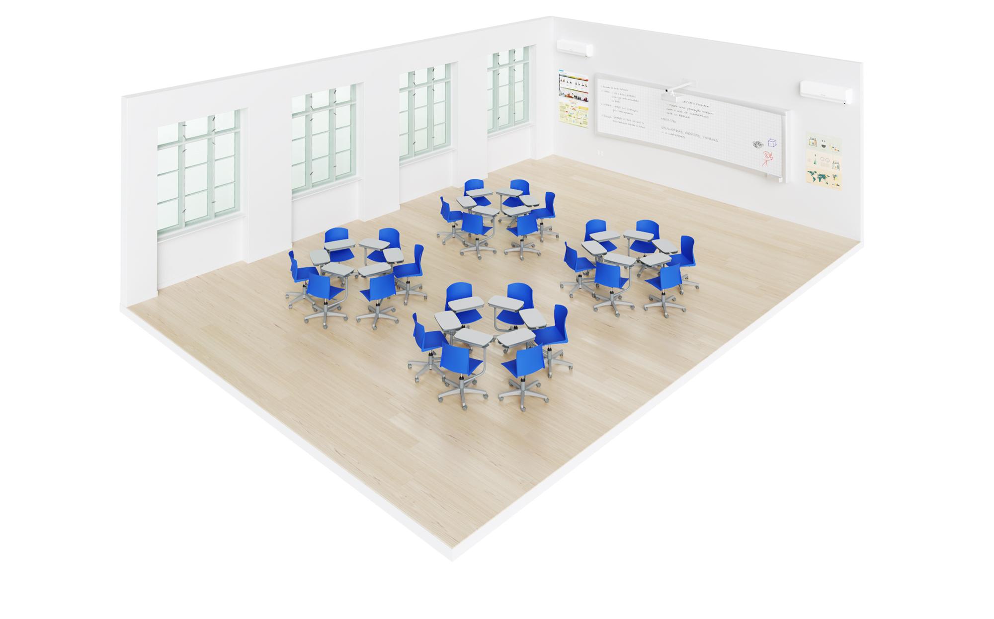 sala de aula com carteiras universitárias flex pro em grupos de seis