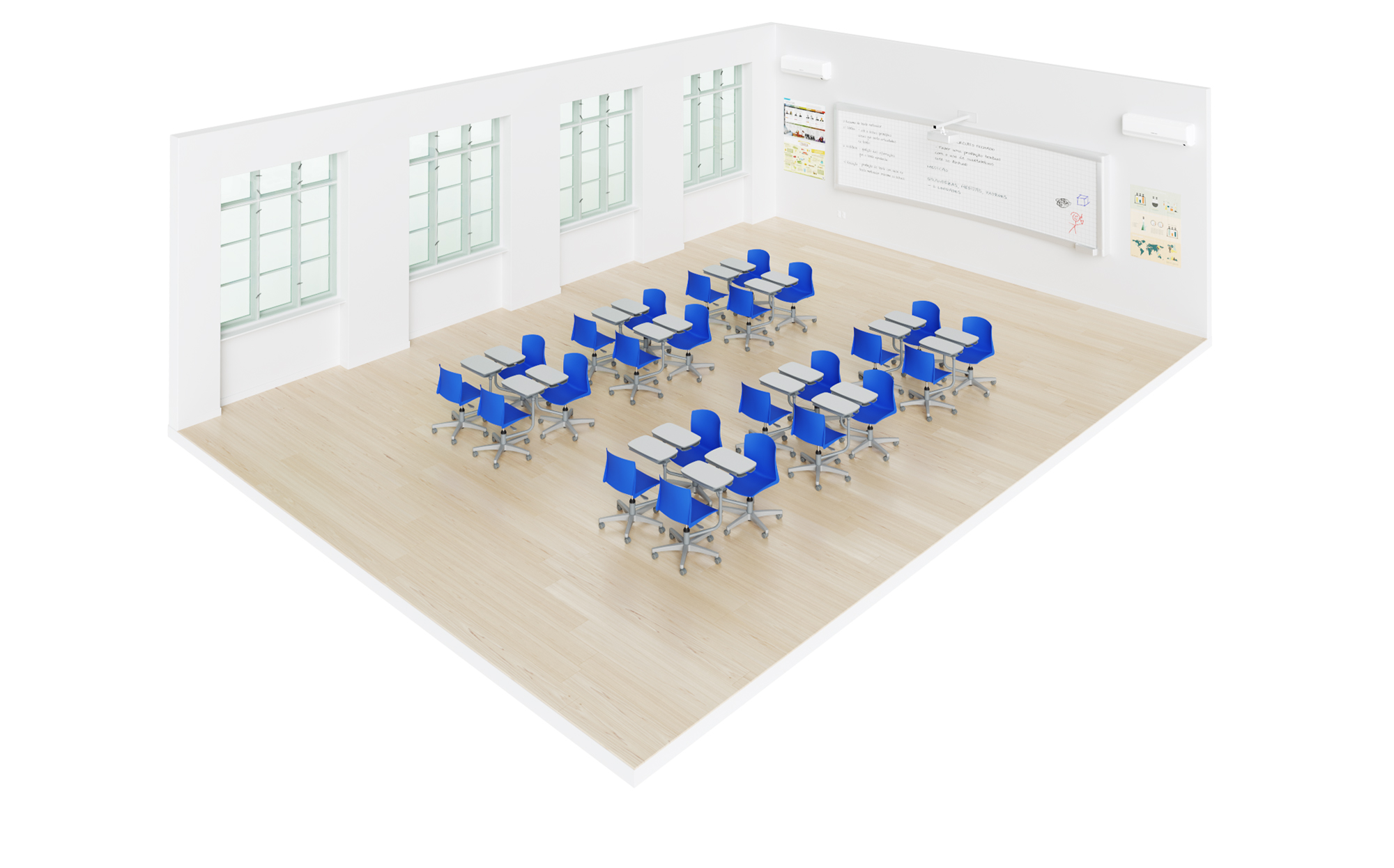sala de aula com carteiras universitárias flex pro em grupos de quatro