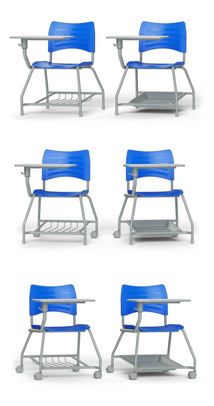 Modelos da carteira Duo com pés fixos ou com rodízios, e porta objetos de grade ou plástico.