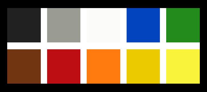 Cores: preto, cinza, branco, azul, verde, marrom, vermelho, laranja, mostarda, amarelo.