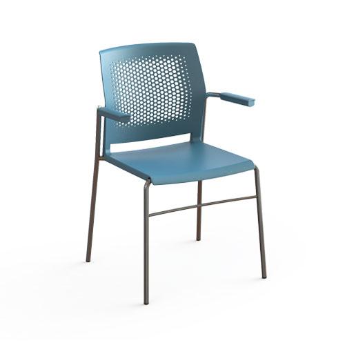 cadeira sp fixa com estrutura preta e assento azul