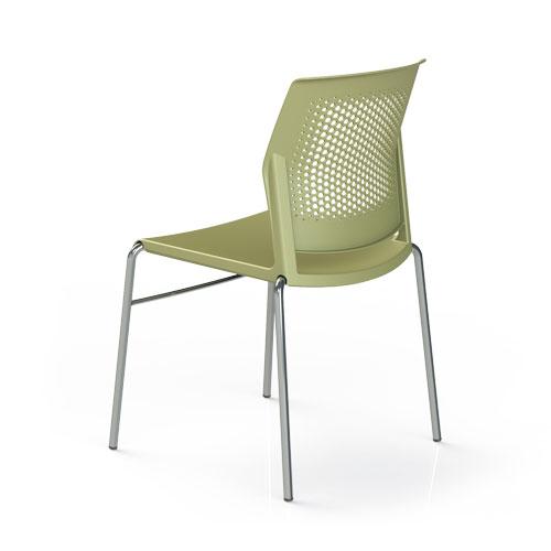 cadeira sp fixa com estrutura cromada e assento verde vista traseira