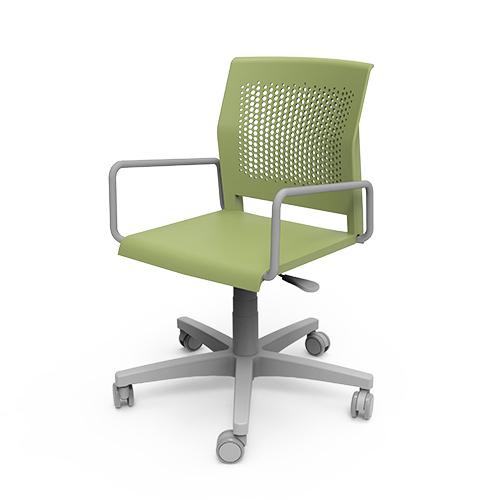 cadeira sp giratória com estrutura cinza e assento verde