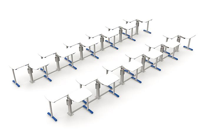 Formação de debate em uma sala com 24 mesas.