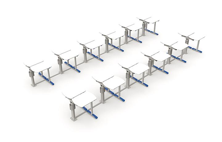 Formação de dupla frente-a-frente em uma sala com 24 mesas.