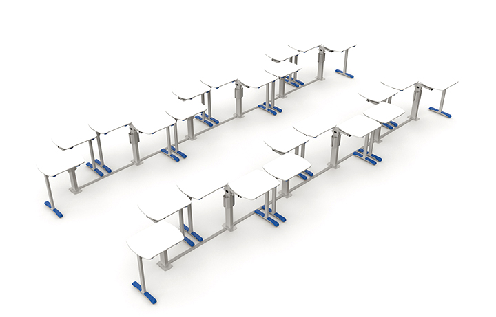 Formação em dupla lado-a-lado em sala com 24 mesas.