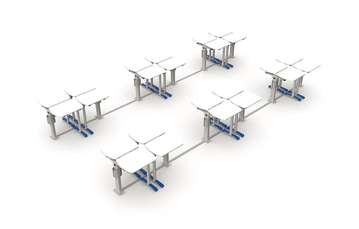 Formação de grupo de 4 alunos em sala com 24 mesas.