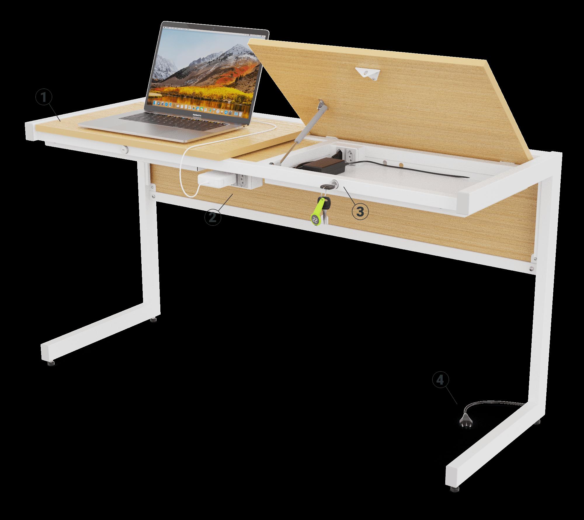 Perspectiva da mesa com um tampo fechado e um notebook, e o outro aberto revelando um compartimento.